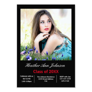2 Photo Black Vertical - 3x5 Grad Announcement