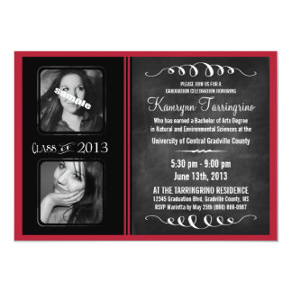 2 Photo Chalkboard Graduation Black and Red Card