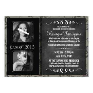 2 Photo Chalkboard Graduation Grayscale Damask Card