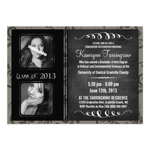 2 Photo Chalkboard Graduation Grayscale Damask Personalized Announcement