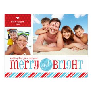 2 PHOTO CHRISTMAS POSTCARD :: merry & bright 1