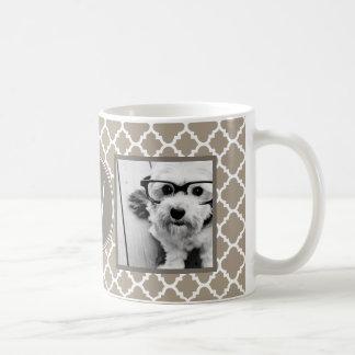 2 Photo Collage - Taupe Quatrefoil and Monogram Coffee Mug