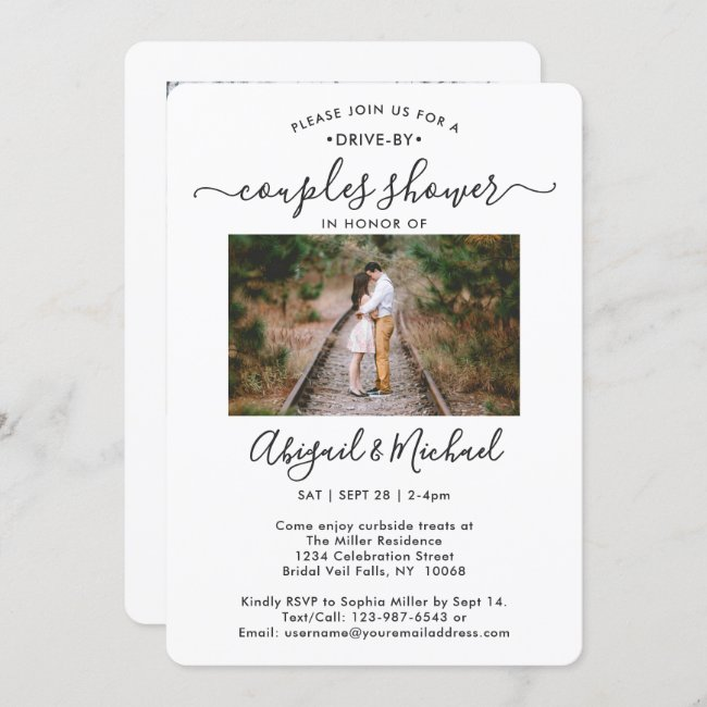 2 Photo Drive-By Modern Couples Bridal Shower Invitation