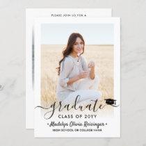 2 Photo Graduation Modern Simple Script Elegant Invitation