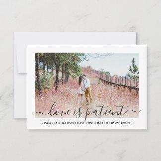 2 Photo Love is Patient Wedding Postponement Save The Date