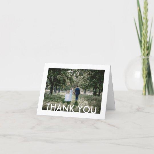2 photo modern minimalist simple white wedding thank you