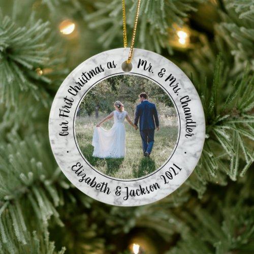 2 Photo Mr & Mrs 1st Christmas Script Faux Marble Ceramic Ornament