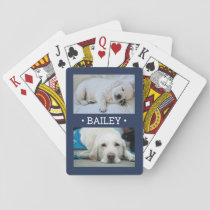 2 Photo Name Pet / Family Pictures Navy Blue White Playing Cards