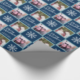 2 Photo - Navy Blue Merry Christmas Snowflakes Wrapping Paper