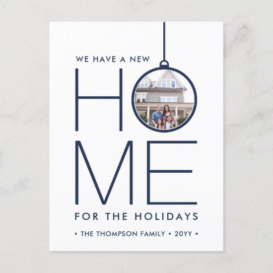 2 Photo New Home Address Modern Navy Blue Moving Holiday Postcard