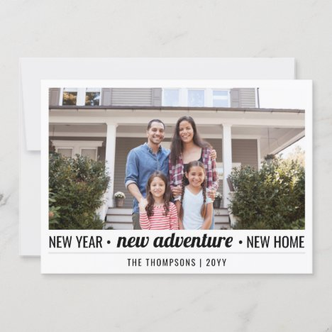 2 Photo New Years Adventure Home Address Moving Holiday Card