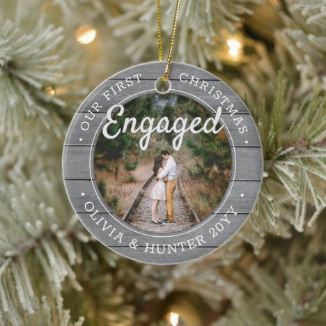 2 Photo Our First Christmas Engaged Faux Grey Wood Ceramic Ornament