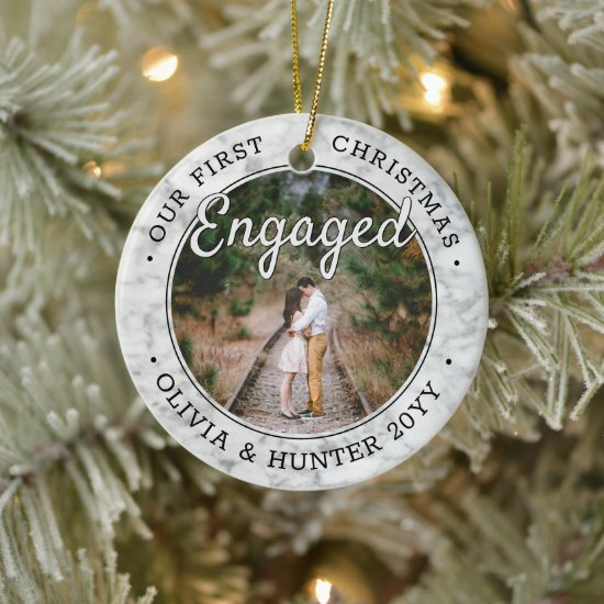 2 Photo Our First Christmas Engaged Faux Marble Ceramic Ornament