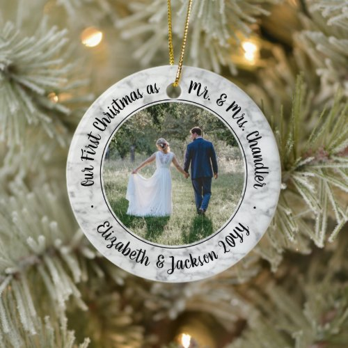2 Photo Our First Christmas Mr & Mrs Faux Marble Ceramic Ornament