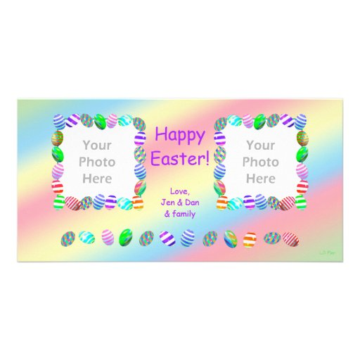 2 Photo Painted Easter Eggs Custom Photo Card
