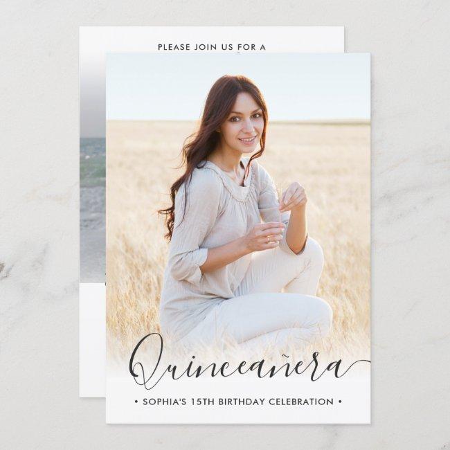 2 Photo Quinceanera Elegant Script 15th Birthday Invitation