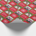 """2 Photo - Red Green Merry Christmas Snowflakes Wrapping Paper<br><div class=""""desc"""">Add 2 pictures to this cute holiday illustration - perfect for the kids. A simple and modern drawing of a classic Christmas symbol with an area to write your message.</div>"""