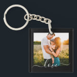"""2 Photo Template Double Sided Love Text Black Keychain<br><div class=""""desc"""">Fully Customizable 2 Photo Template Double Sided Love Text Keychain on Black.</div>"""