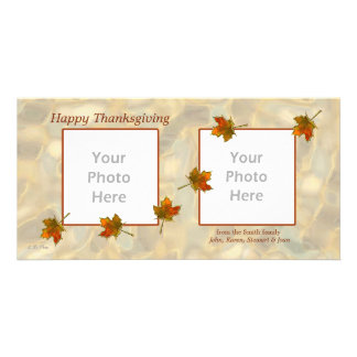 2-Photo Thanksgiving - Drifting Fall Leaves Card