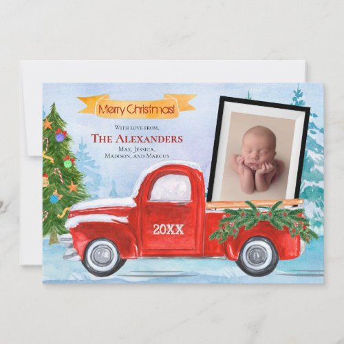 2 Photo Vintage Red Truck Winter Christmas Holiday Card