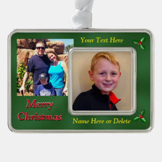 2 Photos, 2 Text Personalized Christmas Ornaments