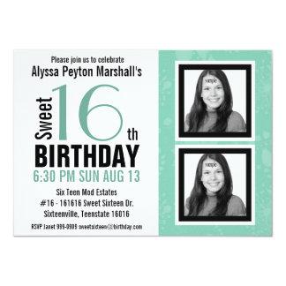 2 Photos Mod Aqua Sweet 16 Birthday 4.5x6.25 Paper Invitation Card
