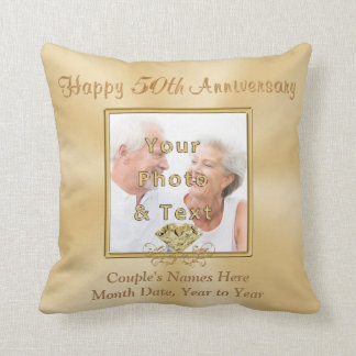 2 Photos Personalized 50th Anniversary Gifts Throw Pillow