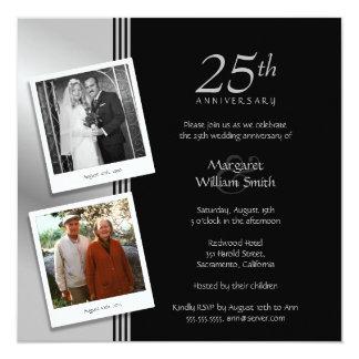 2 Photos Silver 25th Wedding Anniversary Party Invitation