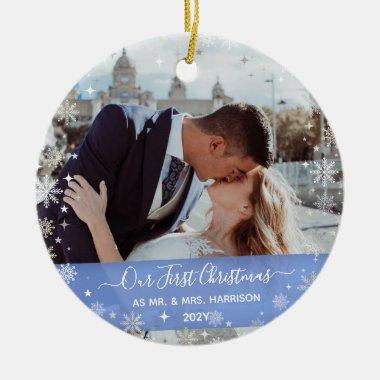2 Photos (Vert H) 1st Christmas Mr Mrs Snowflakes Ceramic Ornament