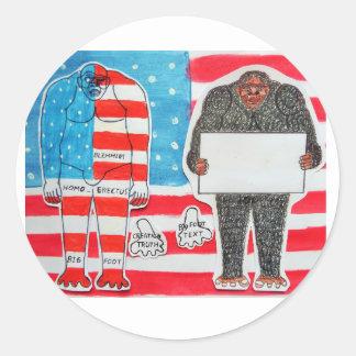 2 pies grandes H, texto y bandera en U.S.A.flag. Pegatina Redonda