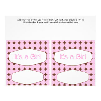 "2 Pink Baby Shower Favor Custom Candy Bar Wrappers 8.5"" X 11"" Flyer"