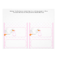 2 Pink Baby Shower Favor Custom Candy Bar Wrappers Flyer