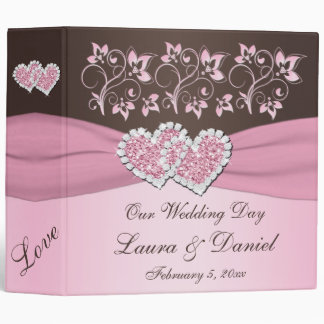"2"" Pink, Brown Floral Joined Hearts BINDER"