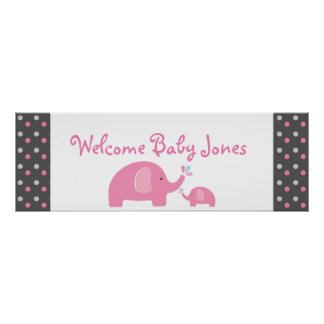2 Pink Elephants Baby Shower Sprinkle Party Banner Poster