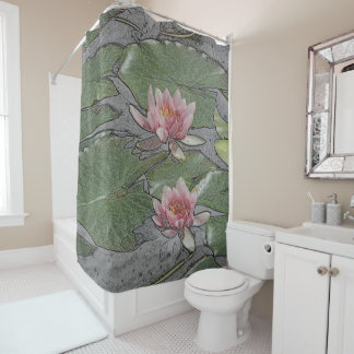 2 PINK LOTUS BLOSSOM AND LILY PADS SHOWER CURTAIN