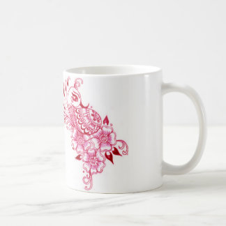 2 Pink Mehndi Henna peacock art Coffee Mug