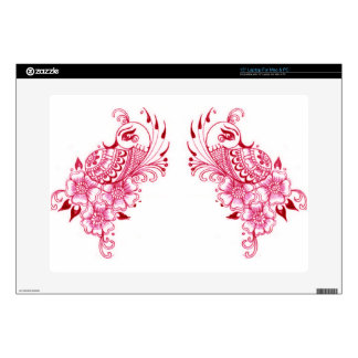 "2 Pink Mehndi Henna peacock art Skins For 15"" Laptops"