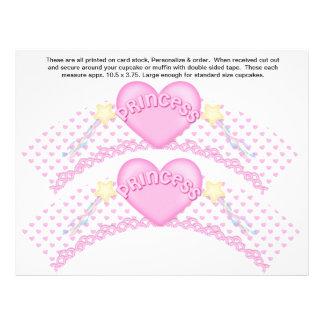 2 Pink Princess Birthday Custom Cupcake Wrappers Flyer