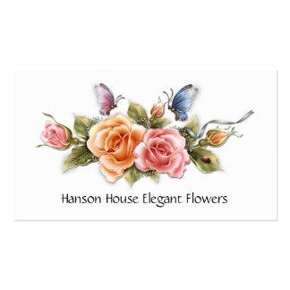 #2 Pink Yellow Roses Butterflies Business Card