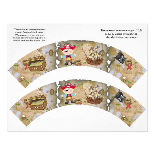 2 Pirate Theme Custom Cupcake Wrappers Flyer