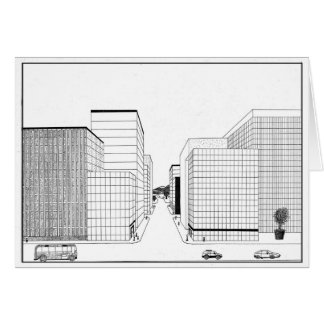 2 Point Perspective drawing of a city Black&White Card