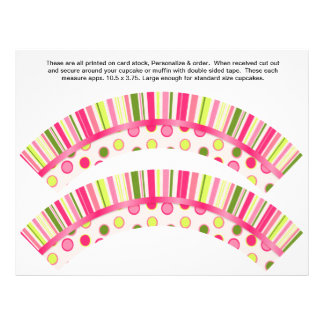 "2 Polka Dot Birthday Personalize Cupcake Wrappers 8.5"" X 11"" Flyer"