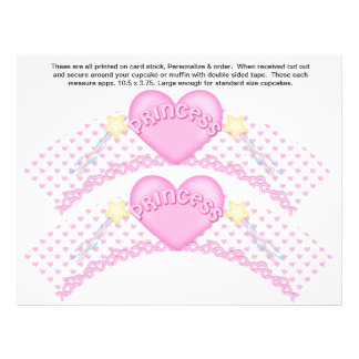 2 princesa rosada Birthday Custom Cupcake Wrappers Flyer Personalizado