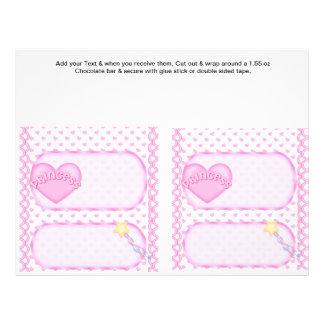 2 Princess Birthday Custom Candy Bar Wrappers Flyers