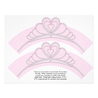 """2 Princess Birthday Personalize Cupcake Wrappers 8.5"""" X 11"""" Flyer"""