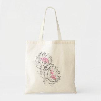 2 protea grey pink tote bag