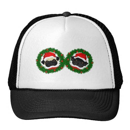 2 Pug Santas Trucker Hat