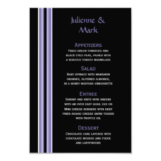 #2 Purple Black Stripes on White Menu Card