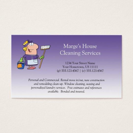 2 purple cartoon maid house cleaning customer loy business card