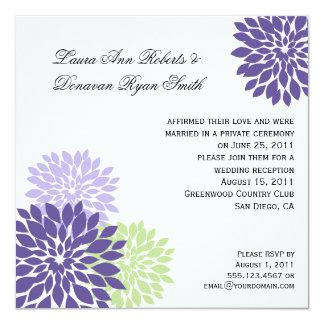 #2 Purple Lavender Green Flower Petals Purple Back 5.25x5.25 Square Paper Invitation Card